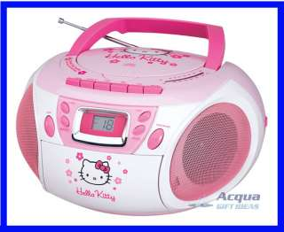 HELLO KITTY PORTABLE BOOMBOX RADIO CD CASSETTE PLAYER