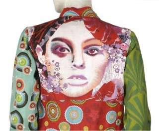 NEW $110 Desigual Smocked Retro Printed Long Sleeve Blouse Shirt Top