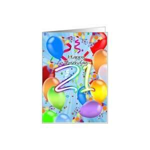 21st Birthday   Balloon Birthday Card   Happy Birthday Balloons