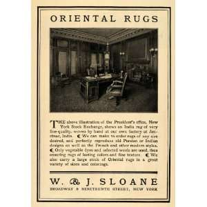 1904 Ad W & J Sloane Oriental Rugs Office Room Decor   Original Print