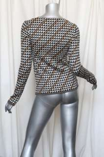 CHANEL Brown CASHMERE Knit Vintage Pyramid Trim Pullover Sweater Top