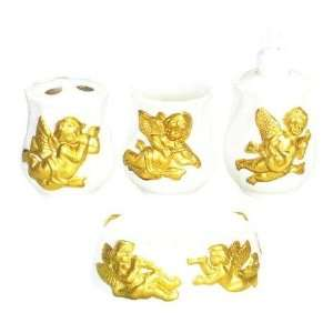 GOLD CHERUB 3 D Ceramic Bathroom Bath Accessories Set NEW