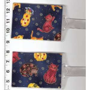 Set of 2 Luggage Tags Made with Quilted Kitty Cat Fabric