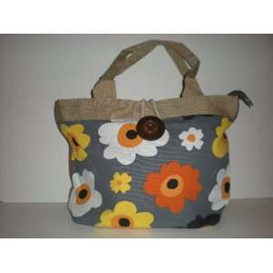Tote Bag Canvas (grey w colored flowers) Everything Else