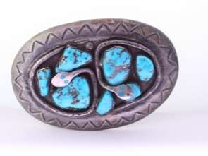 Signed Effie C Zuni, NM Silver Turquoise Snake Buckle