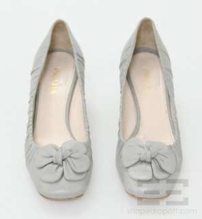Prada Gray Gathered Leather Floral Applique Chunky Heels Size 39