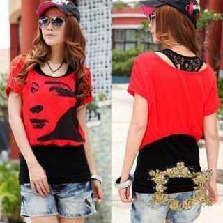 Sz M L XL New 2 Pieces Red T Shirt + Cotton w Lace Long Vest Tops Set