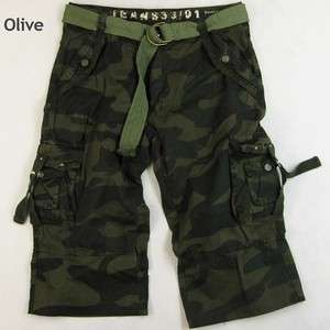MENS MILITARY STYLE CAMOUFLAGE PRINTED CARGO CAPRI W/ BELT #A8C1/BC