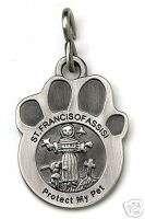 St. Francis Paw Print Pet Medal Tag   Dog Charm