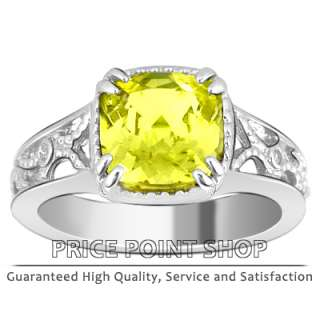 97 ct Yellow Sapphire & Diamonds Sterling Silver Ring