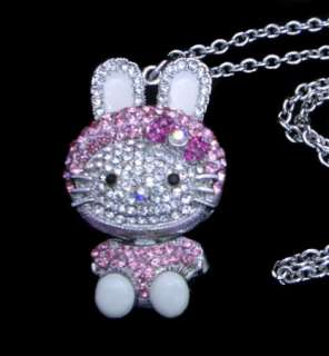 New Hello Kitty Pendant Necklace Pink Swarovski Crystal