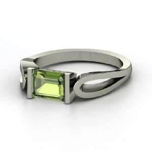 Loop de Loop Ring, Emerald Cut Green Tourmaline 14K White