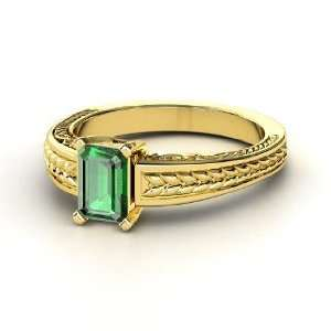 Emerald Cut Ceres Ring, Emerald Cut Emerald 14K Yellow Gold Ring