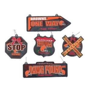 Cleveland Browns Football Metal Street Sign Christmas Ornaments 5 Pack