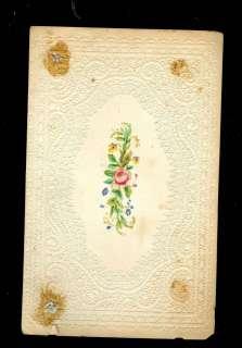 1865 antique VICTORIAN EMBOSSED friendship CARD die cut