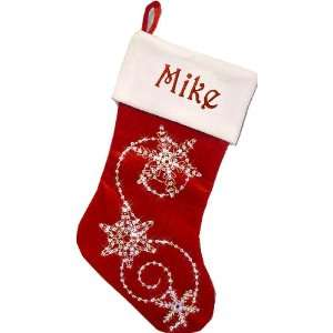 Personalized Christmas Stockings Snowflake Bling RED