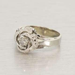 Edwardian Vintage Estate 14K White Gold Diamond Fashion Ring