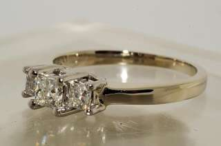49CT 3 STONE PRINCESS CUT DIAMOND ENGAGEMENT RING PLAT & GOLD SIZE 6