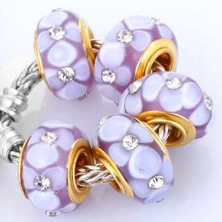 Gold Plate Glass Bead W/ Flower & CZ Fit Bracelet V43