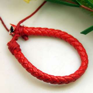Stylish Ethnic Red Leather Hemp Bracelet Cuff Wristband