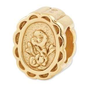 Sterling Silver Gold plated Reflections Floral Cameo Bead