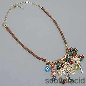 Chunky Evil Eye Gold Tone Crystal Wood Bib Costume Jewelry Earring