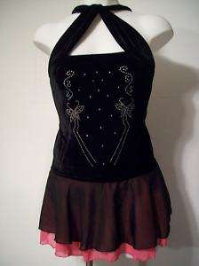 NEW Black & Pink Crystalized Ice Skating Dress (XL)