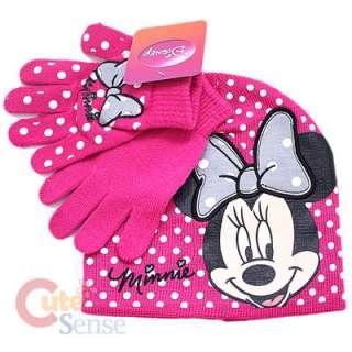 Disney Minnie Mouse Gloves, Beanie Set  Hot Pink Dots