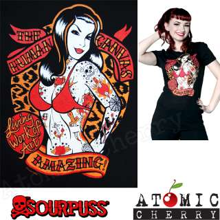 Canvas T Shirt Rockabilly Pin Up Girl Tattoo Punk Leopard Retro