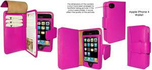 APPLE IPHONE 4/4s PIEL FRAMA LUXURY LEATHER WALLET CASE FUSCHIA PINK
