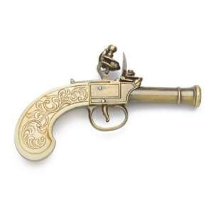 LADIES POCKET FLINTLOCK PISTOL GOLD FINISH NON FIRING