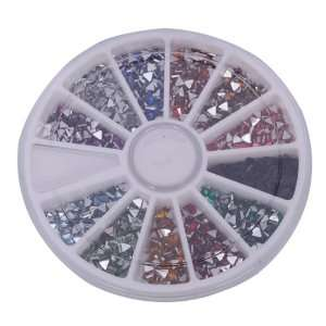 Triangle Nail Art Nailart Manicure Glitter Tips Rhinestone Wheel Kit