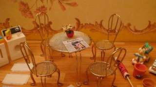 DOLLHOUSE ACCESSORY LOT TABLE W/CHAIRS TOYS FOOD LAUNDRY BEER(F84