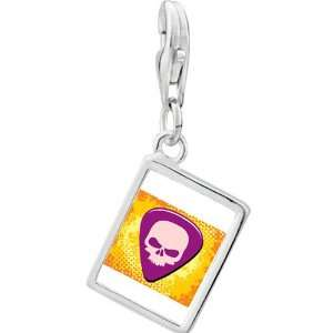 Silver Gold Plated Music Guitar Plectrum Photo Rectangle Frame Charm