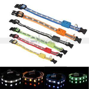 New Fashion Flash LED Light Safety Collar Nylon for Dog Cat Pet 3 Size