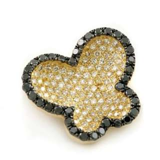 & WHITE PAVE SET DIAMOND BUTTERFLY PENDANT 14k YELLOW GOLD NECKLACE