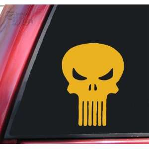 Punisher Skull Vinyl Decal Sticker   Mustard