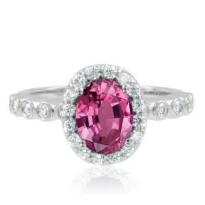 Natural Pink Sapphire Diamond Engagement Ring 14k White Gold Halo Ring