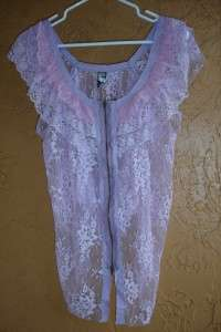 NWT* Free People Lavendar Fly Away Lace Top Shirt Med.