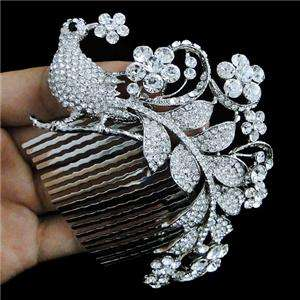 Bridal Peacock Flower Hair Comb Tiara Swarovski Crystal Bird Floral