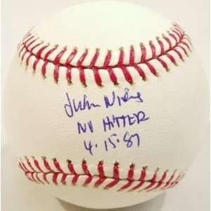 Juan Nieves Signed Rawlings MLB Baseball w/NH 4 15 87