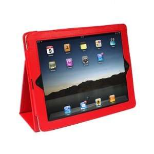 IPAD 2 Leather Case With Stand for Apple IPAD 2 (RED) Fits