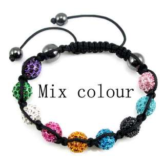 10mm CZ Disco Ball(9pcs) Crystal Bracelet +Gift Box (Mix Lots Colours
