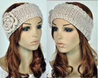 Head Wrap Cap Hand Knit Crochet Cute Flower & Leaf Winter Headband