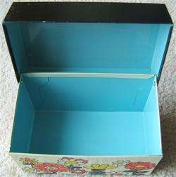 Vintage OHIO ART METAL RECIPE BOX FLOWER POWER 1960s