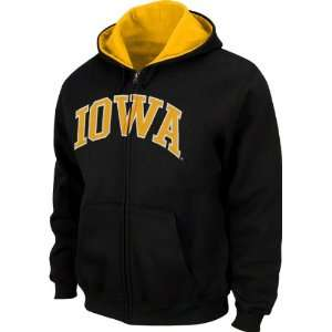Iowa Hawkeyes Youth Black Tackle Twill Full Zip Hooded