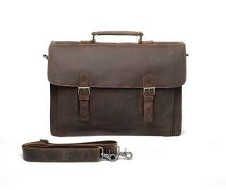 Vintage Style Leather Briefcase Messenger Bag Double Gussets Laptop