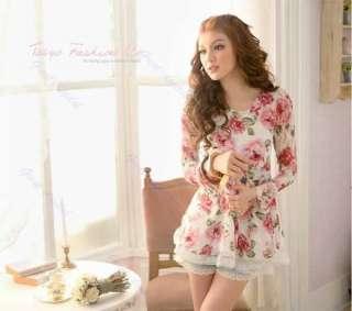Korea Long Sleeve Rose Flower Prints Lace Casual Tops Shirts Blouses