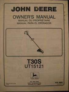 John Deere T30S UT15121 Trimmer Operator & Parts Manual
