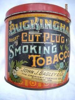 antique BUCKINGHAM CUT PLUG TOBACCO TIN bagley smoking